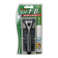 Feather F-System II neo Бритвенный станок c двойным лезвием 3 картриджа и пена для бритья 1 шт