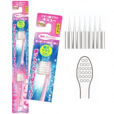 Hukuba Dental Kiss You Сменные головки для щетки ионной 4 ряда ворсинок с компактной чистящей головкой Средняя жесткость 2 шт