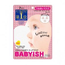Kose Clear Turn Babyish Маска увлажняющая хлопковая для лица с экстрактом ромашки и гиалуроновой кислотой 7 шт