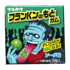 Marukawa Monsters Franken Жевательная резинка Франкенштейн меняет цвет языка на зеленый Содовая 13 гр (8 шариков)