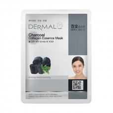 Маска коллагеновая Dermal Collagen Essence Mask Charcoal с древесным углем 1 шт 23 гр